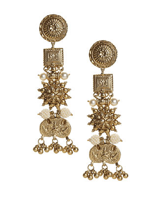 Janaki-Gold-Dipped Silver Earrings with Pearls