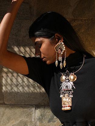 Rajanya-Vintage Silver Earrings with Ruby
