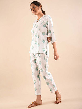 White  Block Printed Tunic with Elasticated Pants (Set of 2)