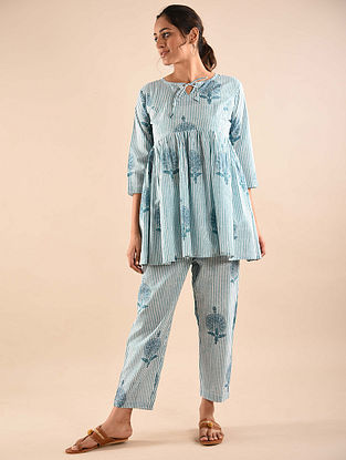 Blue  Block Printed Tunic with Elasticated Pants (Set of 2)