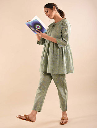 Green Blue Block Printed Tunic with Elasticated Pants (Set of 2)