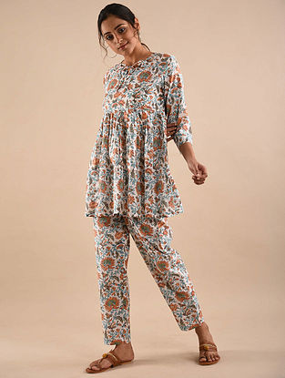 Multicolored Block Printed Tunic with Elasticated Pants (Set of 2)