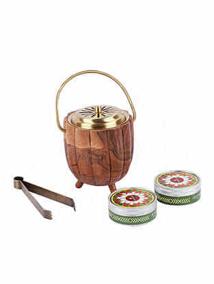 Kangra Gold Handcrafted Wood and Brass Fumer Set (Dia - 3.5in, H - 5in)