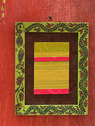 Nature Parrot Green Madhubani Handpainted Fabric Wall Frame (9in x 7.25in)