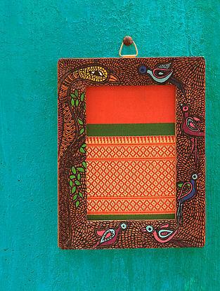Birds Orange Madhubani Handpainted Fabric Wall Frame (6.5in x 5in)