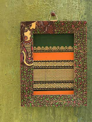 Radha Krishna Green Madhubani Handpainted Fabric Wall Frame (6.5in x 5in)