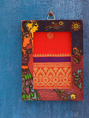 Forest Red Madhubani Handpainted Fabric Wall Frame (6.5in x 5in)