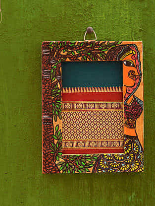 Tribal Women Turquoise Madhubani Handpainted Fabric Wall Frame (6.5in x 5in)