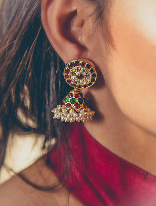 Kempstone Encrusted Gold Plated Temple Silver Jhumki Earrings with Pearls