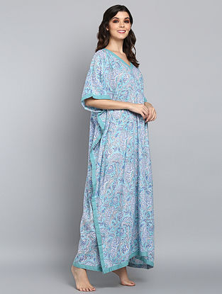 Aqua Blue Hand Block Printed Floral Cotton Kaftan