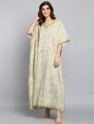Soft Green Pink Hand Block Printed Floral Cotton Kaftan