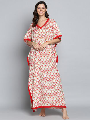 Ivory Red Hand Block Printed Floral Cotton Kaftan