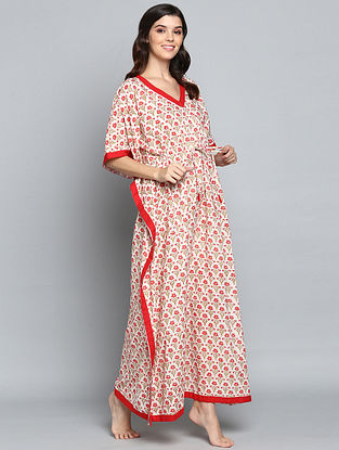Ivory Red Hand Block Printed Floral Cotton Kaftan with Tie-Up Waist