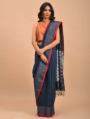 Blue Handwoven Jamdani Linen  Saree