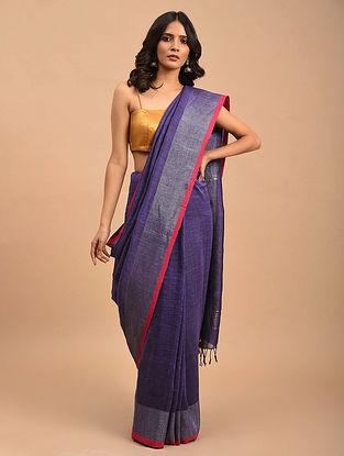 Violet Handwoven Jamdani Linen  Saree