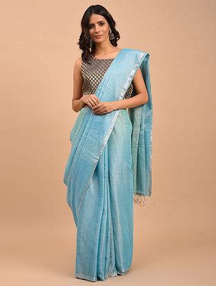 Blue Handwoven Linen Tissue  Saree
