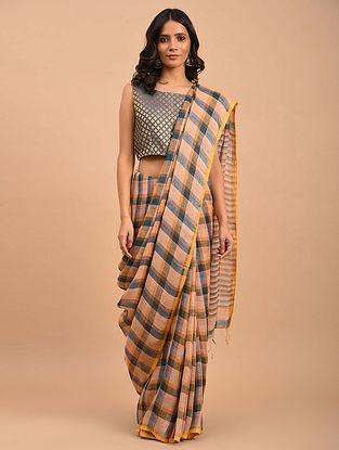 Multicolored Handwoven Linen  Saree