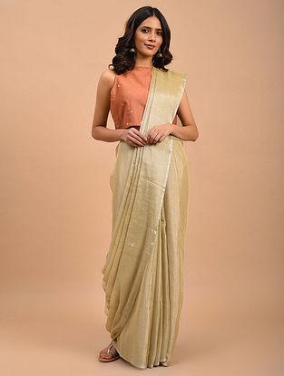 Ivory Handwoven Jamdani Linen Tissue  Saree