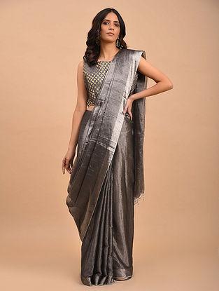 Silver Handwoven Linen Tissue  Saree