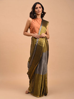 Copper-Silver Handwoven Linen Tissue Saree
