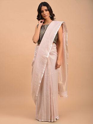 White Handwoven Linen Tissue  Saree