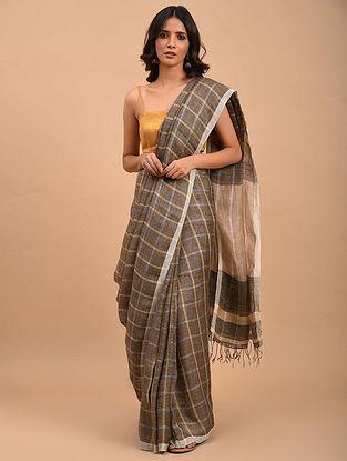 Grey Handwoven Linen  Saree with Zari