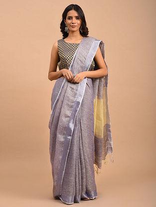 Lavender Handwoven Linen  Saree with Zari