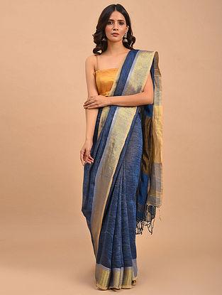 Blue Handwoven Linen  Saree with Zari