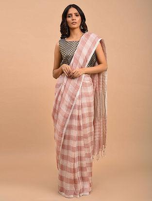 Pink-White Handwoven Linen  Saree