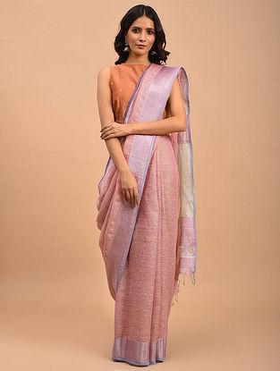 Pink-Purple Handwoven Linen  Saree