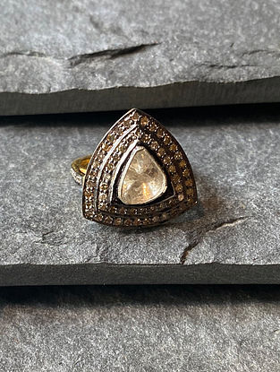 Polki Diamond Adjustable Silver Ring