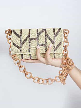 Cream Handcrafted Suede Sling Bag