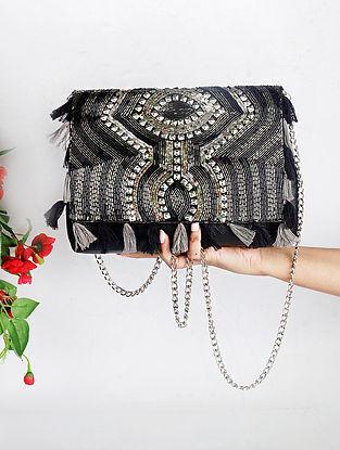 Black Handcrafted Suede Sling Bag