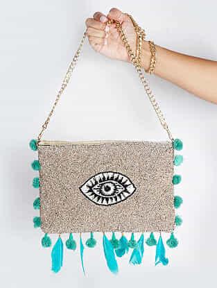 Grey Handcrafted Suede Sling Bag