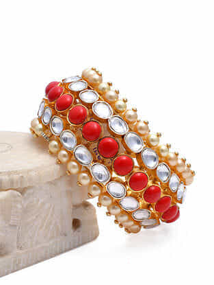 Polki Gold Tone Silver Bangle With Coral and Pearls (Size: 2/5)