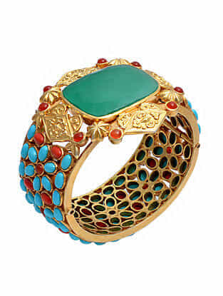 Gold Tone Silver Bangle with Coral, Red Onyx and Turquoise (Size: 2/5)