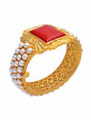 Gold Tone Silver Bangle with Coral, and Pearls (Size: 2/5)