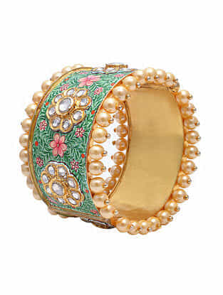 Green Pink Meenakari Gold Tone Silver Bangle with Pearls (Size: 2/5)