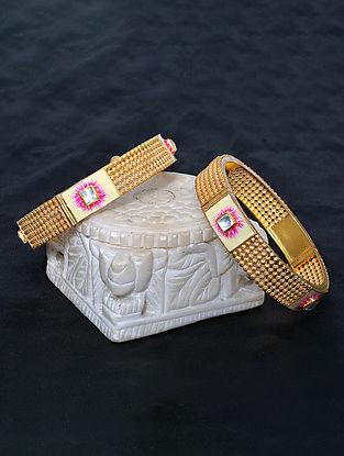 Pink Green Meenakari Gold Tone Silver Bangle (Size: 2/4)