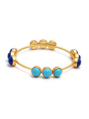 Lapis Lazuli and Turquoise Gold Tone Silver Bangle (Size: 2/5)