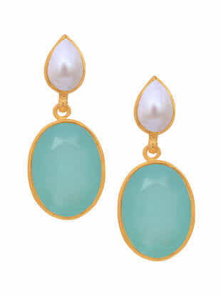 Aqua Chalcedony and Pearl Gold Tone Silver Earrings