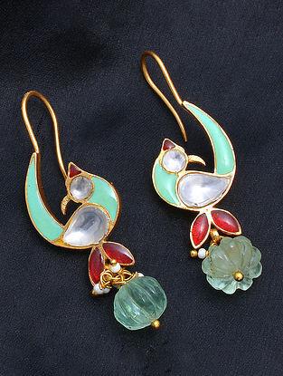 Blue Red Meenakari Gold Tone Silver Earrings