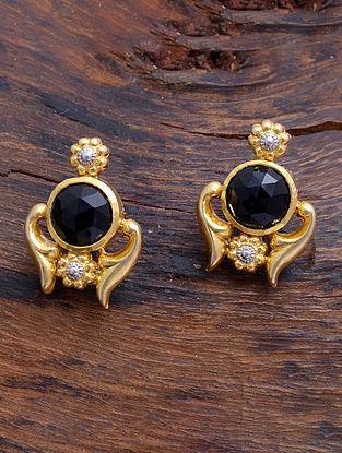 Black Onyx Gold Tone Silver Earrings
