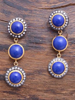 Lapiz Lazuli Dual Tone Silver Earrings