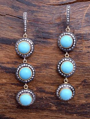 Turquoise Dual Tone Silver Earrings