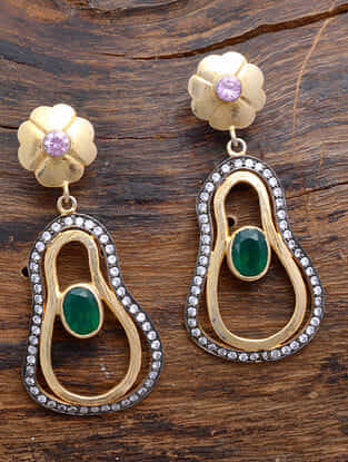 Green Onyx Dual Tone Silver Earrings