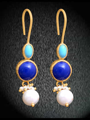 Lapiz Lazuli and Turquoise Gold Tone Silver Earrings with Pearls