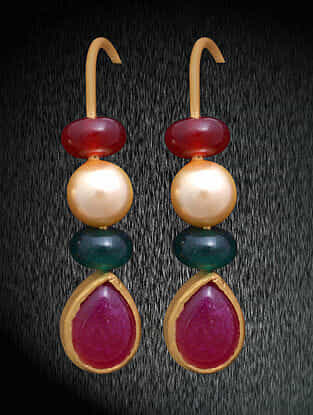 Red Green Gold Tone Silver Earrings