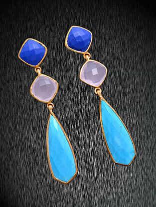Lapis Lazuli, Rose Quartz and Turquoise Gold Tone Silver Earrings