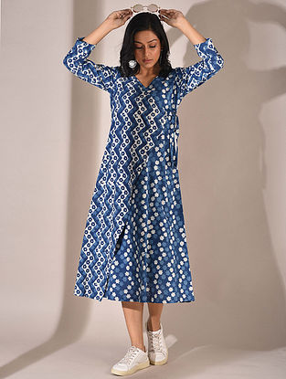 Indigo Dabu Printed Angrakha Dress